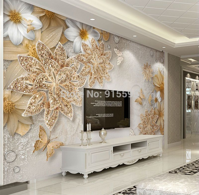 3d Wallpaper For Bedroom Walls Luxury Gold Jewelry Flower Butterfly Background Unbranded Modern Y Tưởng Trang Tri Phong Khach Sang Trọng Trang Tri Nha Cửa