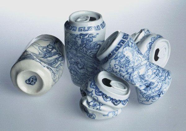 porcelain crushed soda can