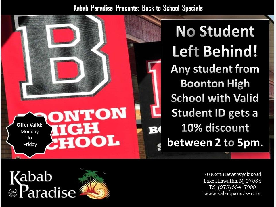 #NoStudentLeftBehin Any Student from #BoontonHighSchool with #ValidStudentID gets a #10%discount between 2 to 5pm