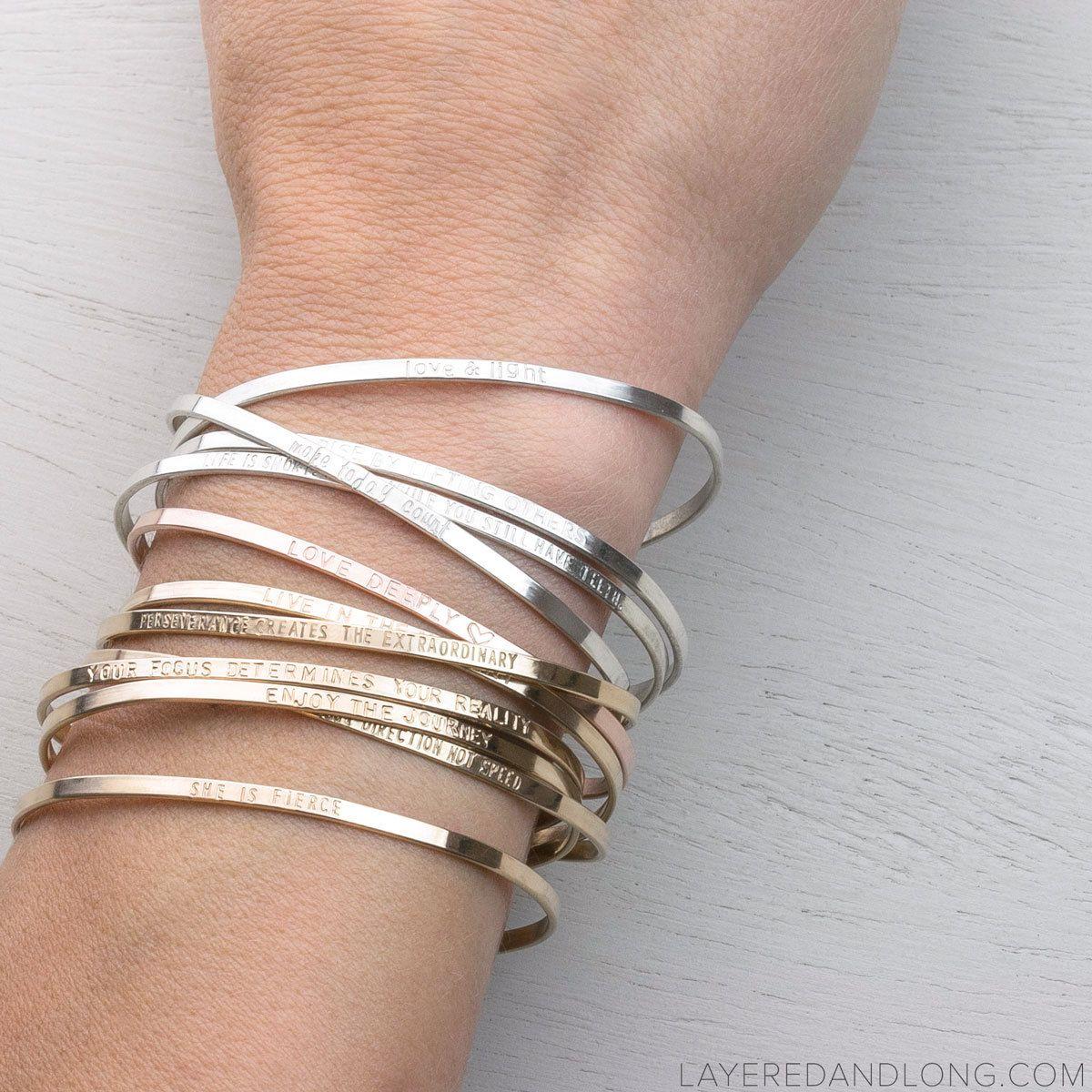 Personalized Cuff Bracelet Inspirational By Layeredandlong On Etsy