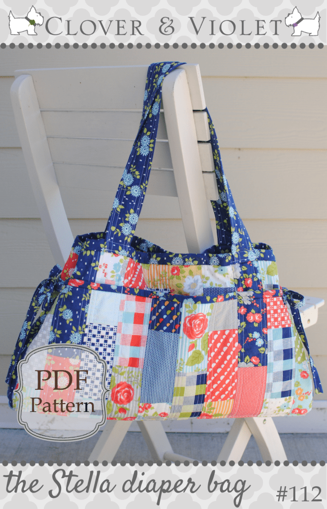 the Stella diaper bag - Diaper bag patterns, Bag pattern, Diaper bag, Stella bag, Bags, Diaper -  pdf sewing pattern Shaped more like a traditional diaper bag, but not lacking in style! The sides are adjustable to make the bag a little more roomy, or keep it smaller  Amply sized to hold all your needs, it would make an travel, market, commuter, or carryall bag too  The outside features six large quilted pockets  The inside features two medium pockets and a cell phone pocket  A magnetic closure keeps your belongings protected yet easily accessible  Fabric shown happygolucky by Bonnie & Camille for Moda Fabrics (cover) and Magic Garden by Sabine Reinhart for Blend Fabrics (detail photos)