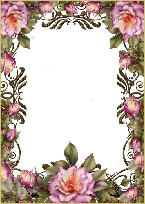 Красивая рамка с розами шаблон для оформления фото в