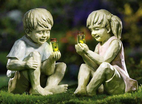 Little Girl W/ Firefly Jar Outdoor Garden Statue By Collections Etc By  Natures Touch.