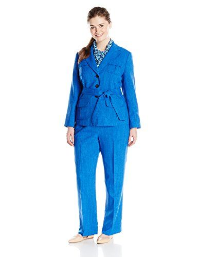 aa73fdc595b16 Le Suit Womens PlusSize 3 Button Jacket and Pant Suit Set with ...