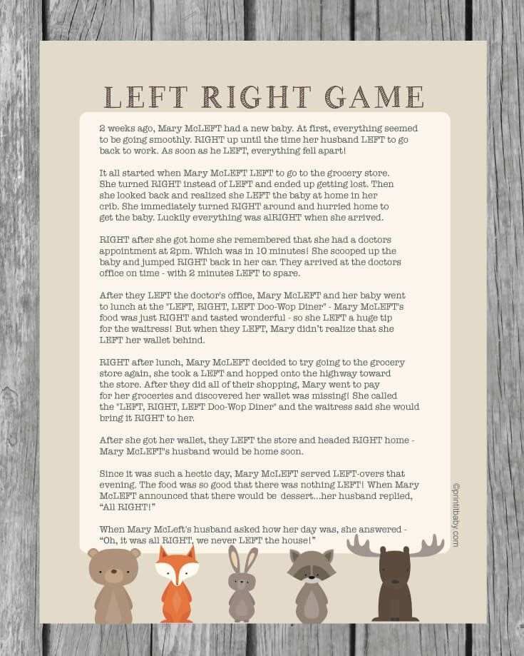 Printable Left Right Baby Shower Game Woodland Animal