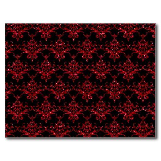 Glitter black red damask pattern postcard