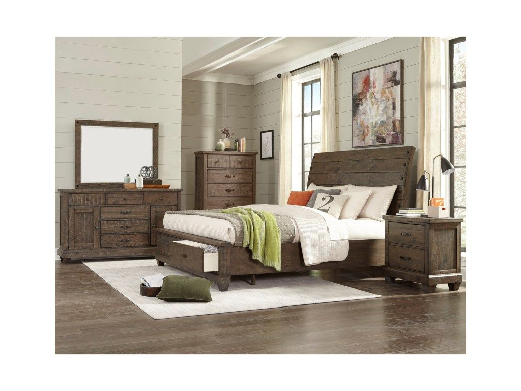 jd mex rustic queen sleigh bed with storage footboard by lifestyle rh pinterest com