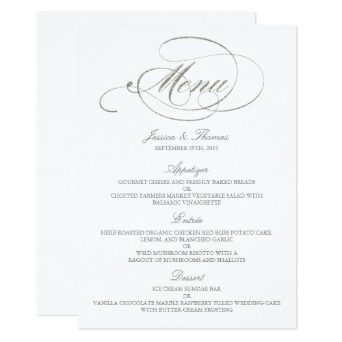 chic faux silver foil wedding menu template in 2018 vintage