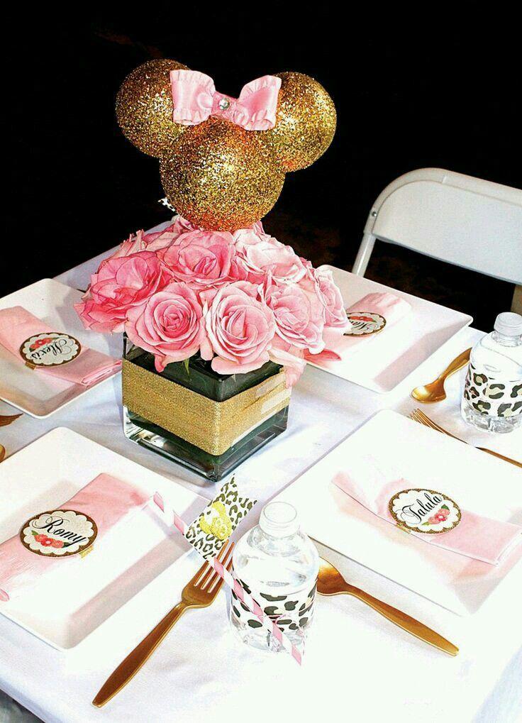 Centro De Mesa Minnie Party Pink Gold Pinterest Minnie Mouse