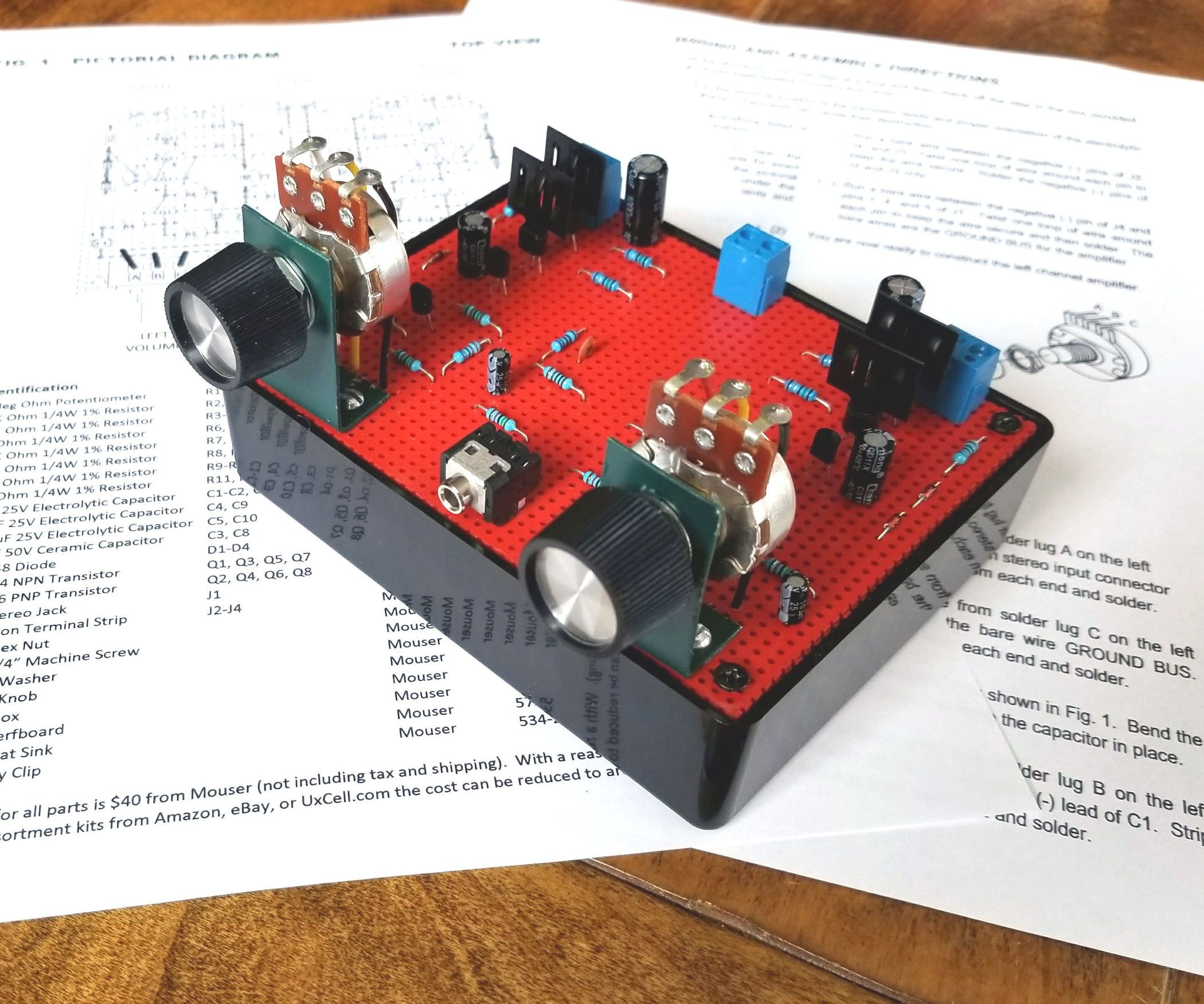 8 Transistor Stereo Amplifier | Stereo amplifier, Electronics ...