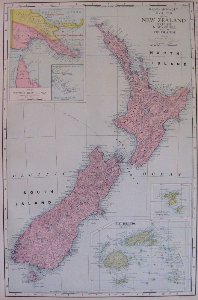1924 Antique NEW ZEALAND Map RARE Poster