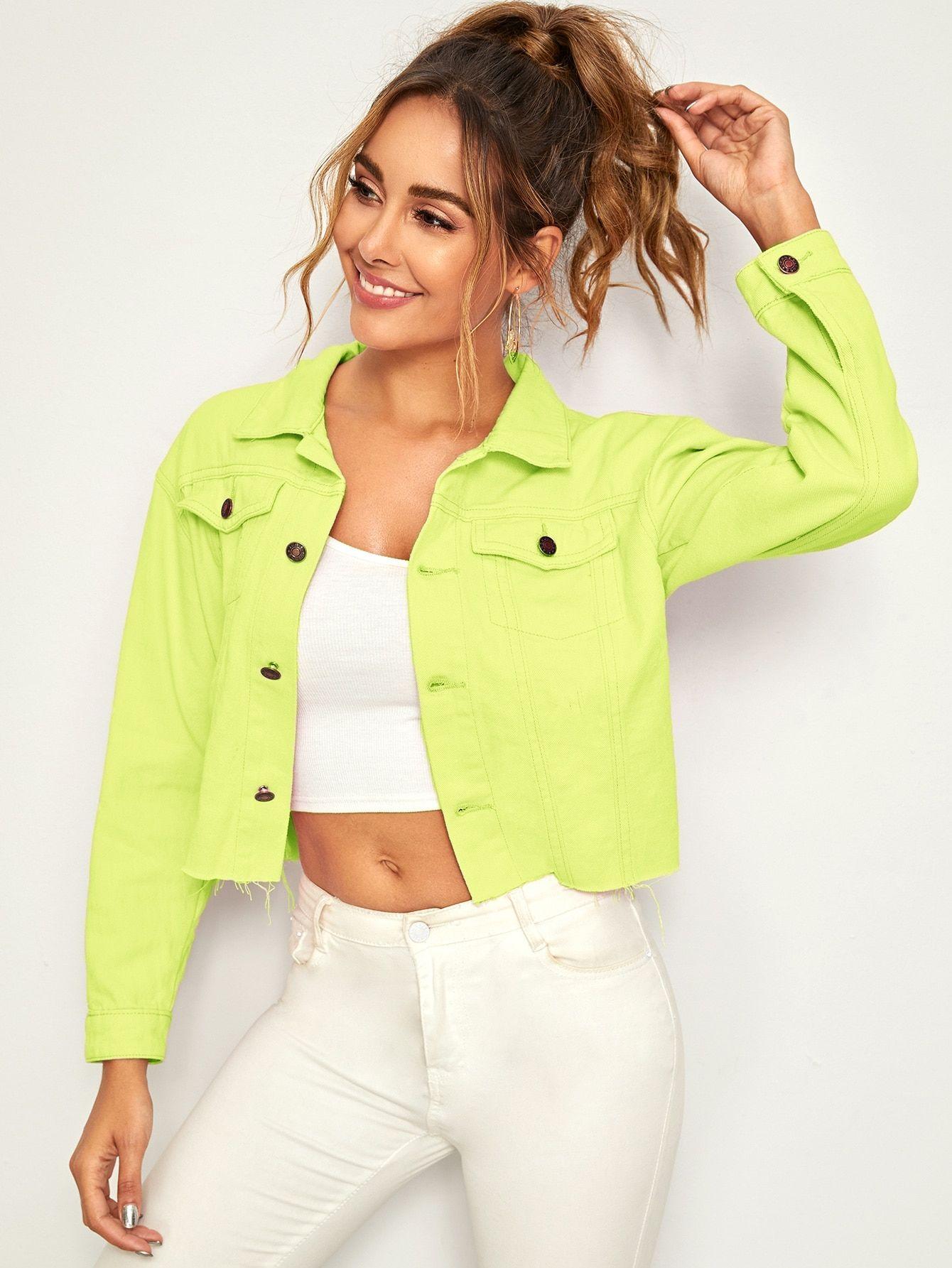 Ad Neon Green Raw Hem Crop Denim Jacket Tags Casual Green Bright Plain Collar Crop Other Raw Hem Cropped Denim Jacket Denim Jacket Leggings Fashion [ 1785 x 1340 Pixel ]
