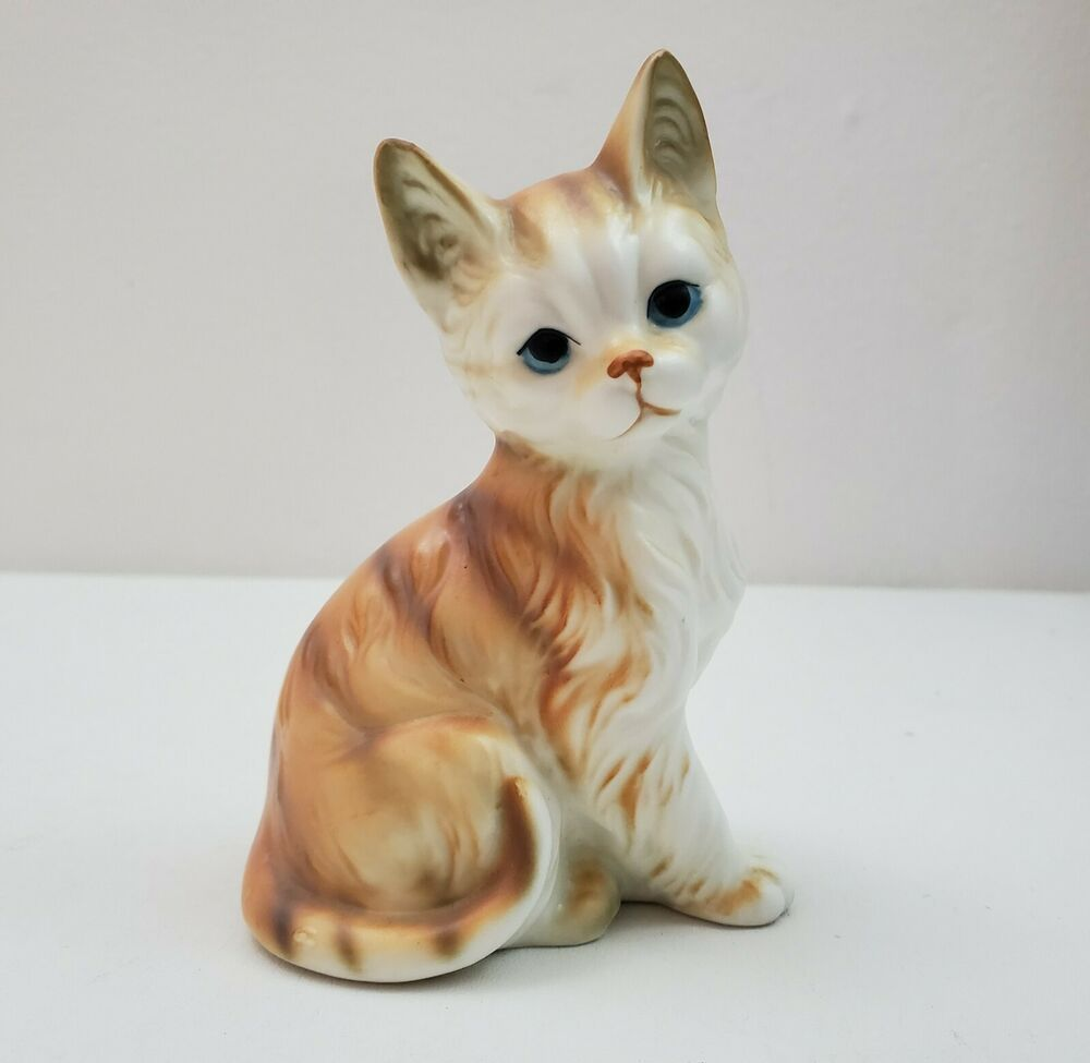 Cute Ceramic Cat Kitten Kitty Figurine Orange Tabby Blue Eyes Ornery Expression Cats And Kittens Orange Tabby Tabby