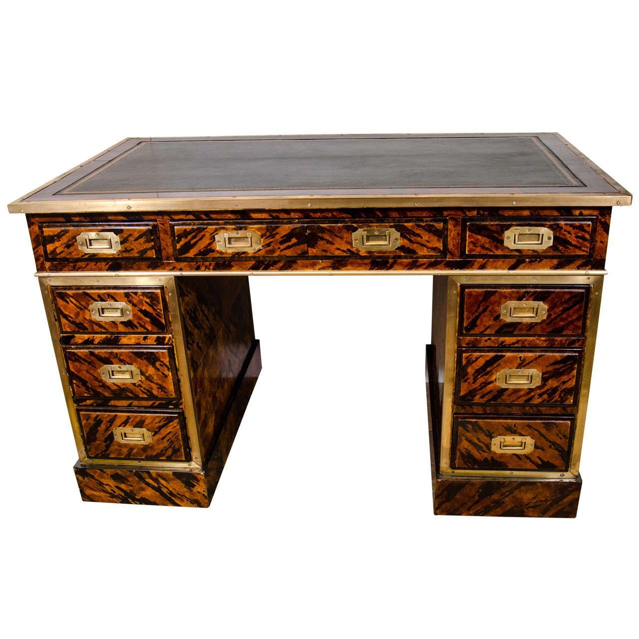 Painted Desk unusual campaign tortoise shell painted desk | tortoise shell and