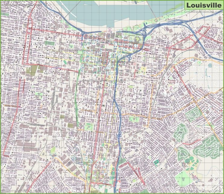 Large detailed map of Louisville Maps Pinterest Usa cities and