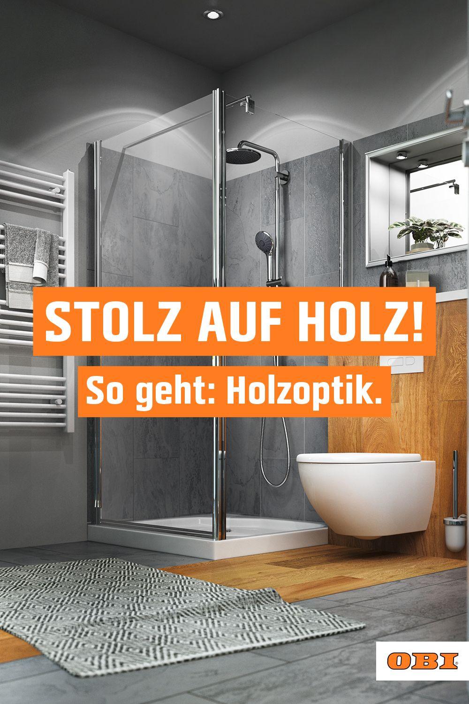 Bad in Holzoptik – Ideen und Tipps   OBI in 20   Holzoptik, Holz ...