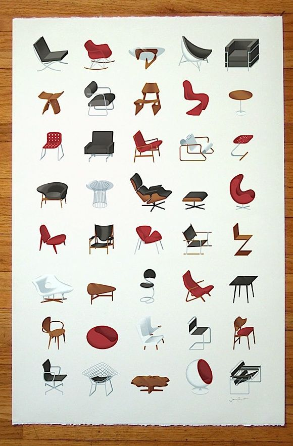 Furniture Design Poster mid-century modern chairs (poster)james provost. | art ideas