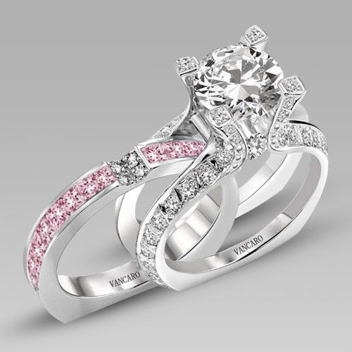 white and pink cubic zirconia 925 sterling silver white gold plated wedding ring set in la - Pink Wedding Rings
