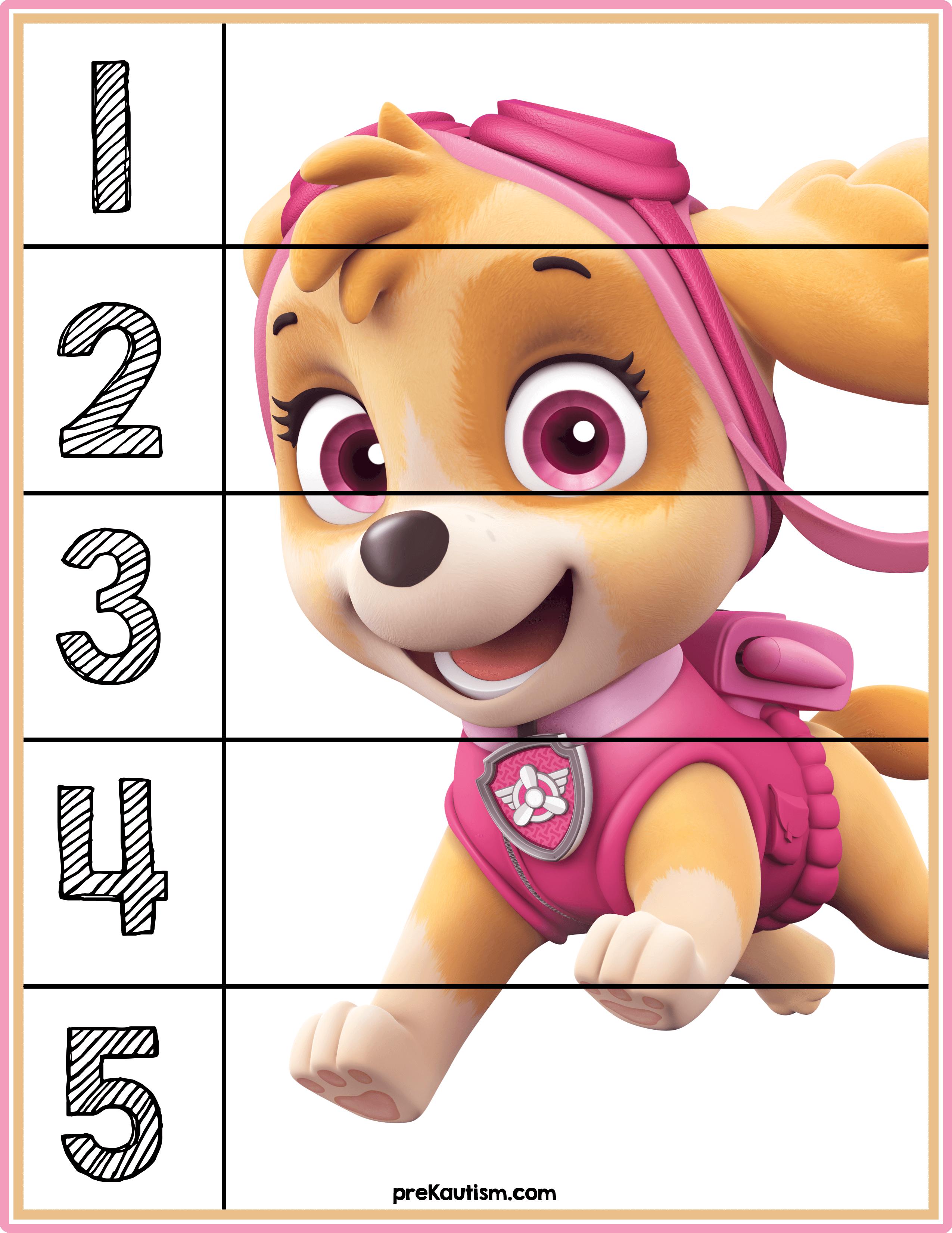 Free Paw Patrol 1 5 Counting Puzzle Toddler Activities Math Activities Preschool Preschool Activities [ 3300 x 2550 Pixel ]