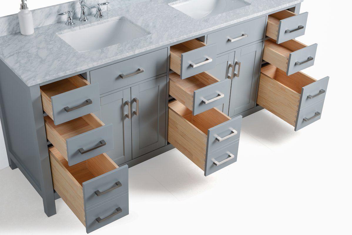 Pendergrass 75 Double Bathroom Vanity Set Double Vanity Bathroom Vanity Bathroom Vanity [ 800 x 1198 Pixel ]