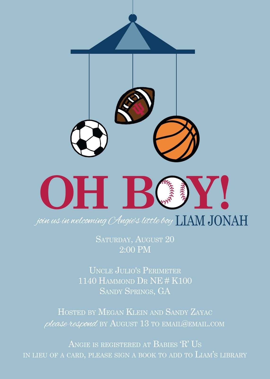 Rkdesigns Sports Themed Baby Shower Invitation