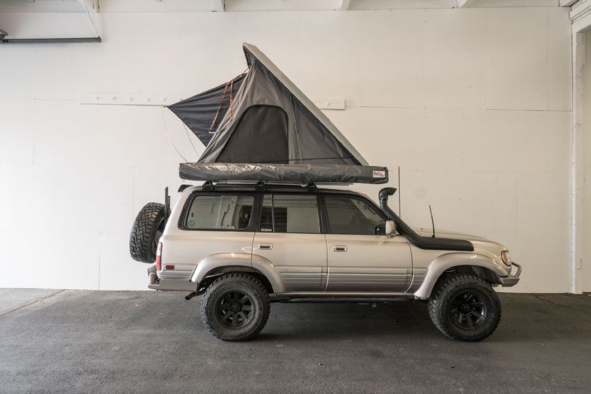 Alu Cab Expedition Series Iii Rooftop Tent And Shadow Awning On A Landcruiser Adventure Ready Roof Top Tent Land Cruiser Tent Campers