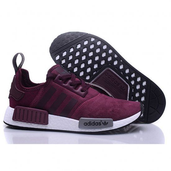 new arrival 87eaa ed77d Adidas NMD R1 Cashmere skin Runner Shoes Red Wine