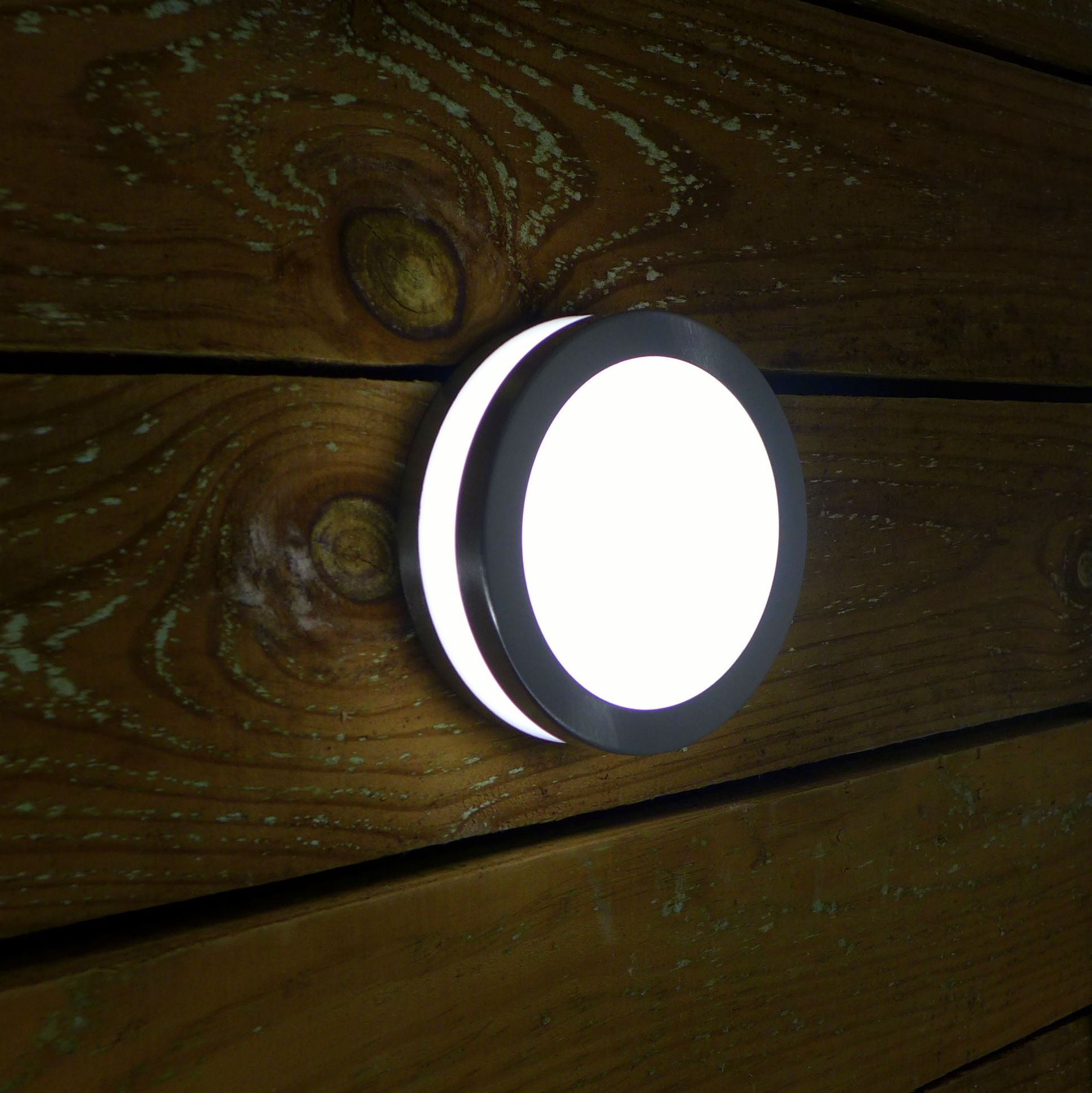 Low energy modern round exterior wall light opal front and opal front and perimeter diffuser provides projected light along with a halo effect wall light stainless steel construction with a polycarbonate opal aloadofball Images