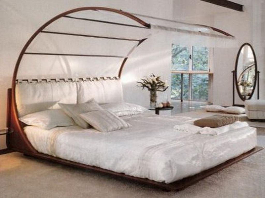 Bedroom , Unique Bedroom Design Ideas With Unusual Beds : Unique Bed With  Curved Canopy For Great Bedroom Design
