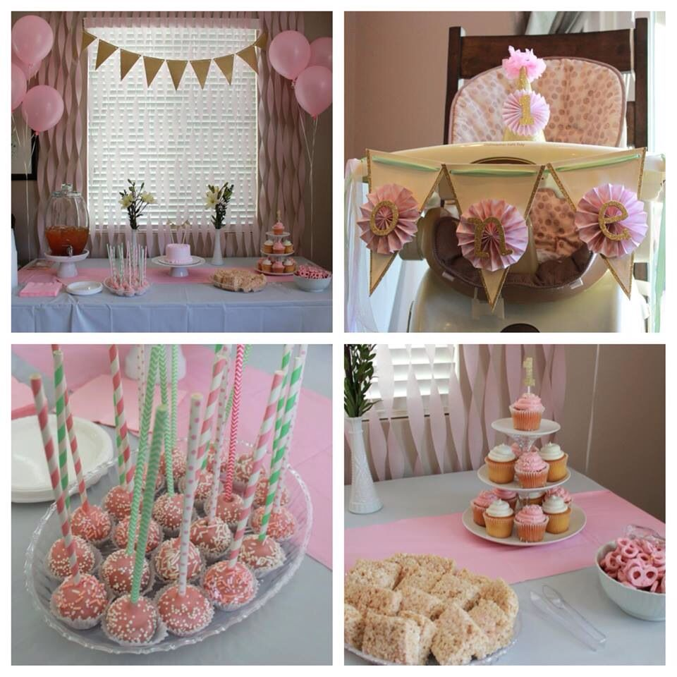Baby Girl First Birthday Party Ideas Pink Gold Mint Decorations