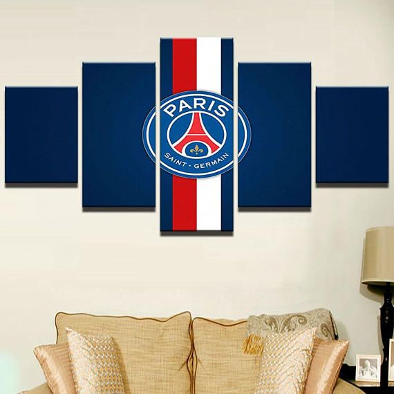 Paris Saint Germain Canvas Print 5 Panel / Soccer Football Canvas Print /  Sport Home Decor / Wall Art / Home Inspiration