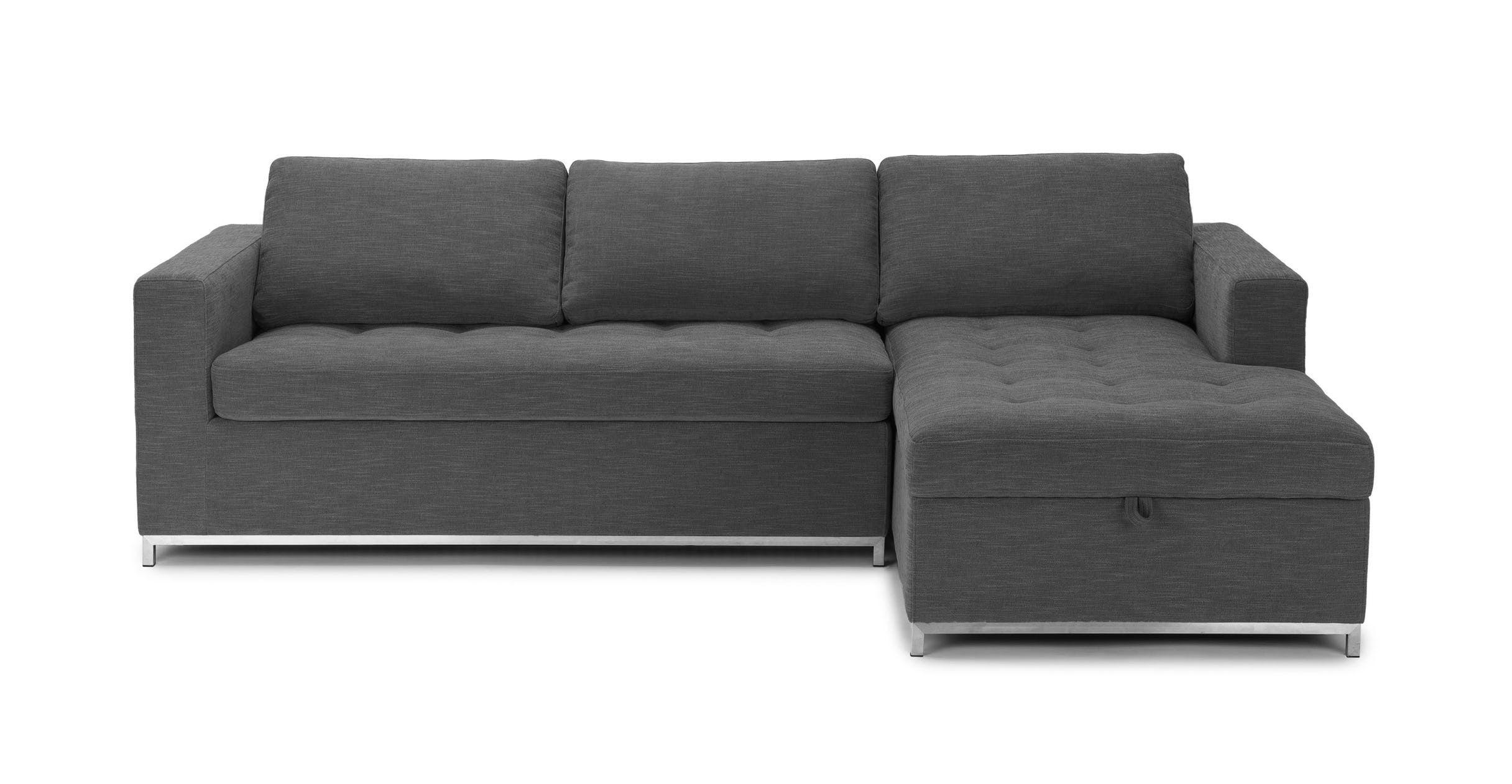 dark gray sofa bed right sectional metal legs article soma rh pinterest com
