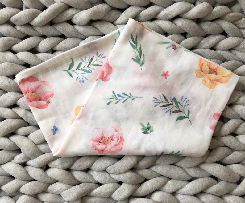 Organic muslin baby swaddle blanket set,Baby Floral Print Swaddles,Stroller cover,Baby Shower Gift