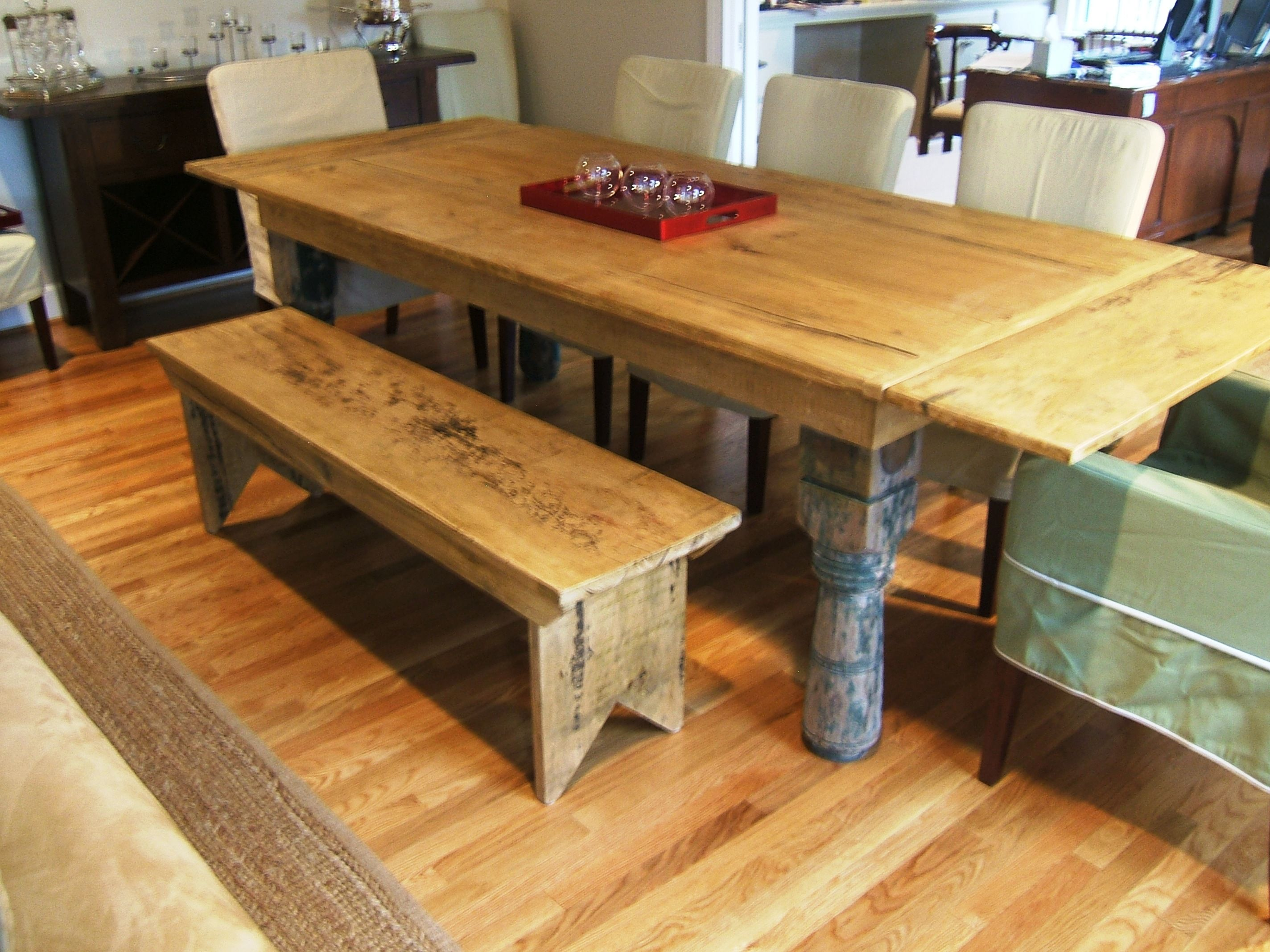 Dining table with leaves and reclaimed porch