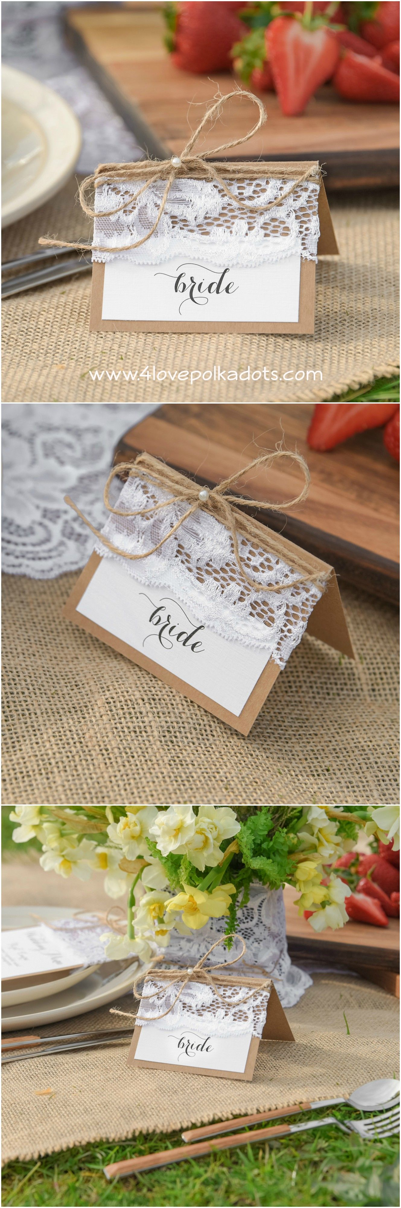 Rustic place card #4lovepolkadots #rusticwedding #rusticplacecard #placecards #weddingideas