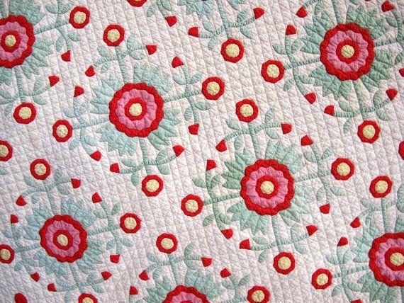 Antique Quilt Applique Red Vintage Quilts by VintageQuiltShop, $1499.99