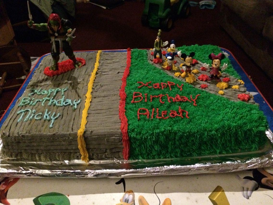 Half Disney Mickey Mouse and half ninja turtles.
