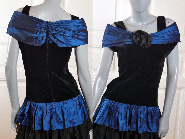 S prom dress french vintage black velvet u dark peacock blue