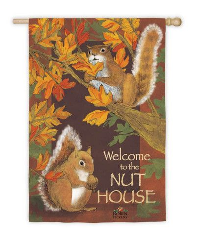 ALL NUTS HERE FALL LEAVES SQUIRREL ACORN Autumn Evergreen