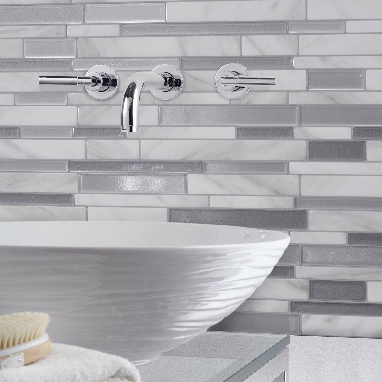 Lot De 6 Credences Adhesives Smart Tiles Milano Gris 29 34 X