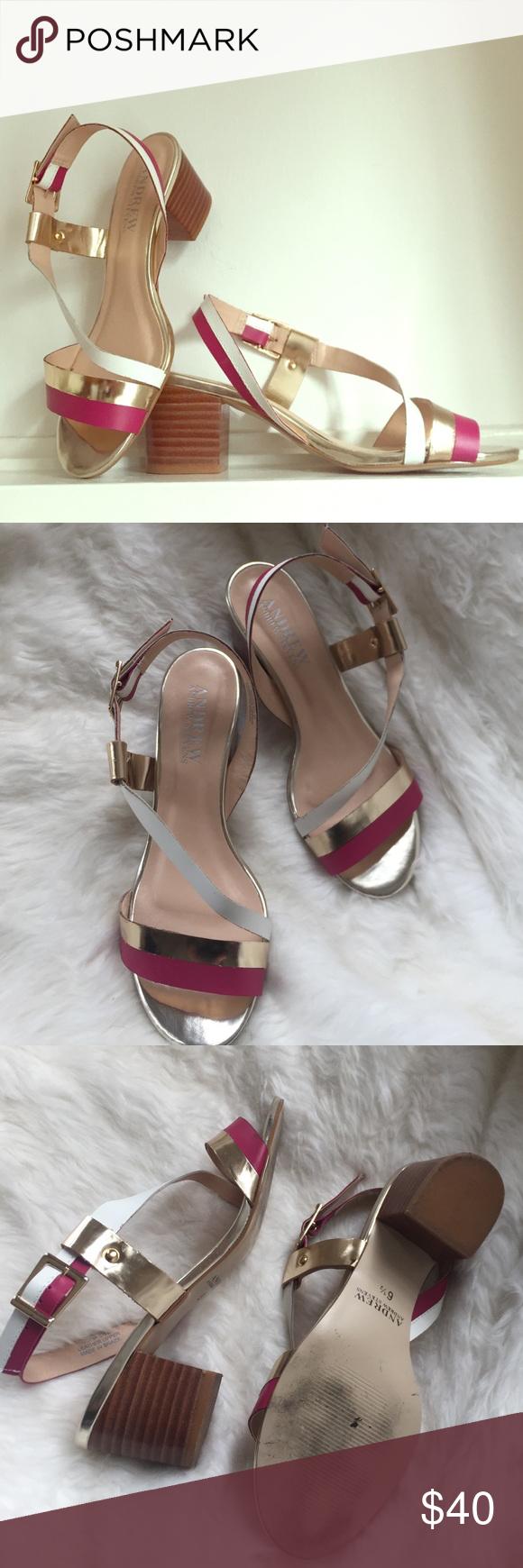 6cc58704f1f390 Andrew Stevens Sofia Metallic Leather Sandals