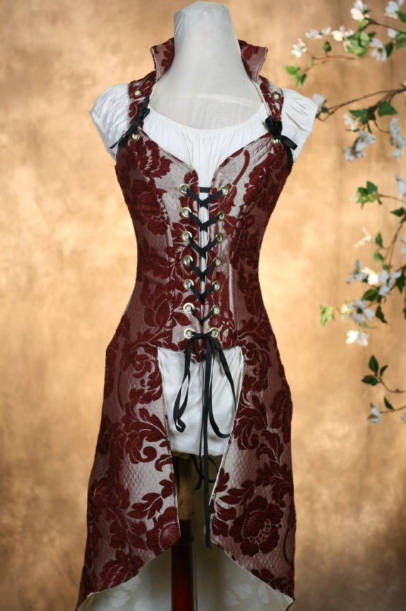Full Tailed Burgundy and Silver Corset SALE by damselinthisdress