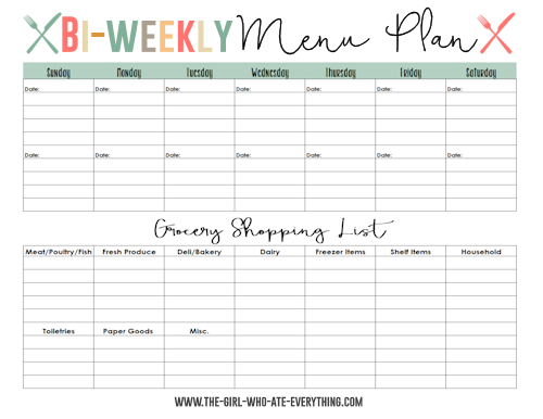 Menu Plans and Shopping List Printables | Weekly menu planners ...