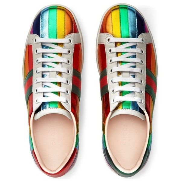 68ab38cca19 Women s Gucci New Ace Rainbow Sneaker ( 620) ❤ liked on Polyvore featuring  shoes