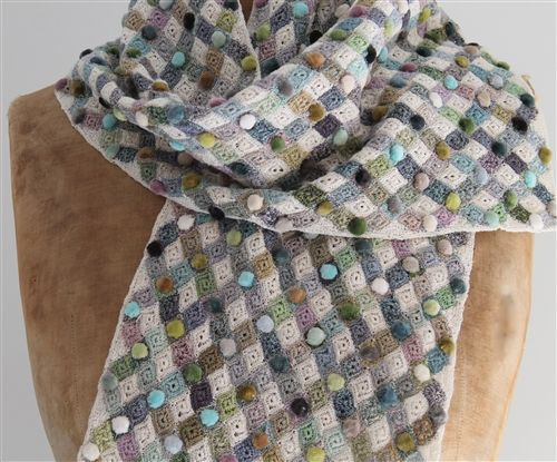 Diamond Patchwork crochet scarf made of linen,  with delicate velvet embellishments.