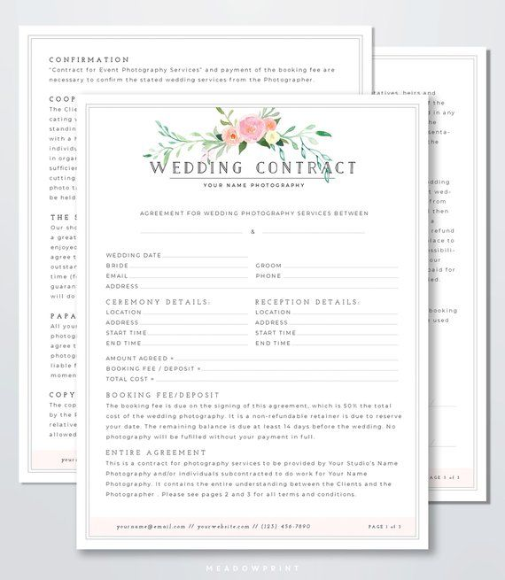 Wedding Photography Contract Template Client Booking Form Etsy Wedding Photography Contract Template Wedding Photography Contract Digital Wedding Photography