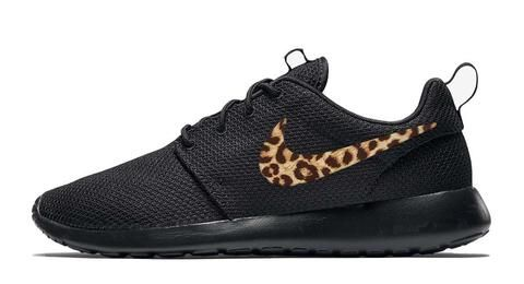 NIKE Roshe Run with Black Cheetah Swoosh
