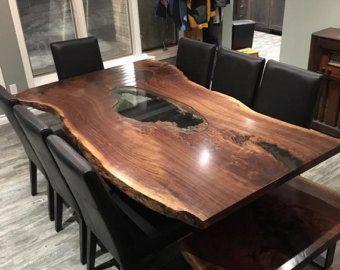 Good Single Slab Live Edge Black Walnut Tables, Live Edge Maple Single Slab Harvest  Table,