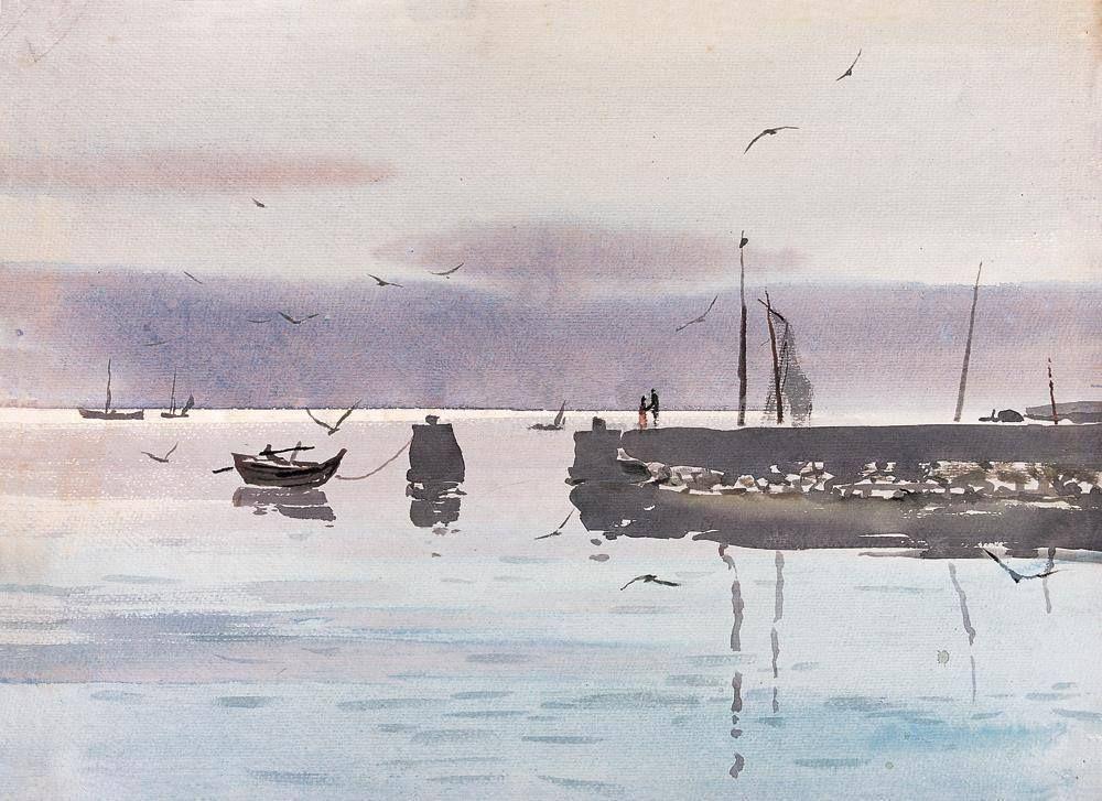 雷坦 / Lei Tan (1939 — 1999, China) Kiss of Sea. watercolor. 39.5 × 54.5 cm.