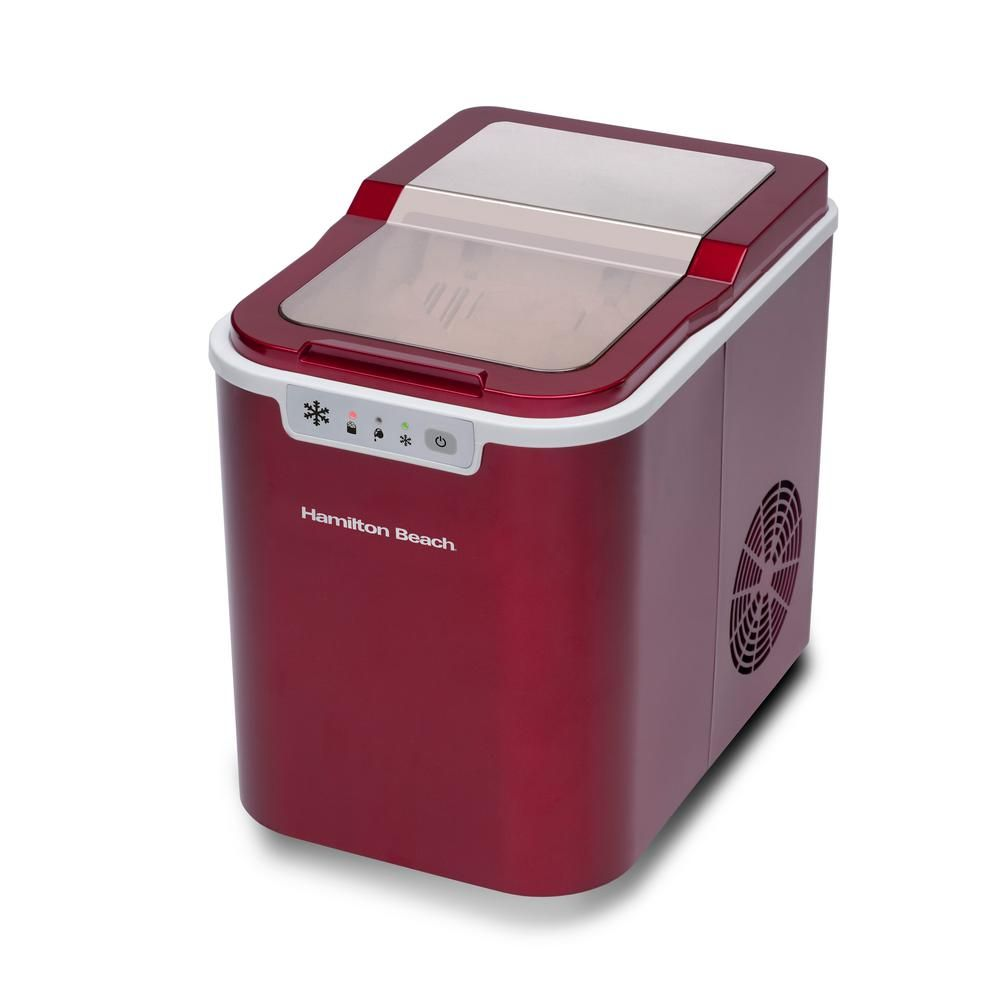 Hamilton beach 27 lb free standing ice maker in red